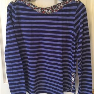 Anthropologie purple striped shirt with detailing